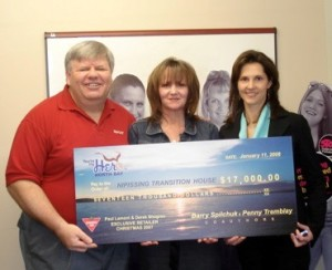 donations to charity by Barry Spilchuk and Penny Tremblay